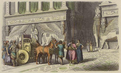 Gateway to an Assyrian palace. Illustration from Bilder aus dem Alterthume (Braun & Schneider, Munich, 19th Century).