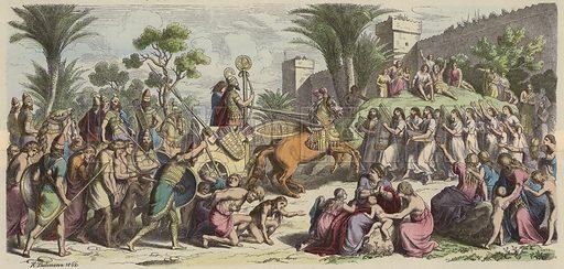 Reception of a victorious Assyrian army. Illustration from Bilder aus dem Alterthume (Braun & Schneider, Munich, 19th Century).