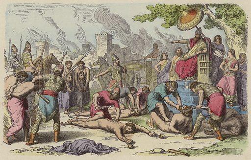 Torture and execution of prisoners of war captured by the Assyrians. Illustration from Bilder aus dem Alterthume (Braun & Schneider, Munich, 19th Century).