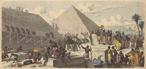 Building of the Pyramids in Ancient Egypt. Illustration from Bilder aus dem Alterthume (Braun & Schneider, Munich, 19th Century).