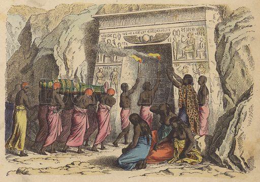 Ancient Egyptian burial. Illustration from Bilder aus dem Alterthume (Braun & Schneider, Munich, 19th Century).