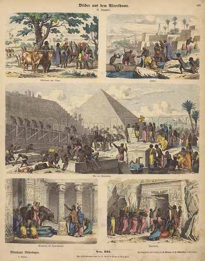 Ancient Egypt. Illustration from Bilder aus dem Alterthume (Braun & Schneider, Munich, 19th Century).