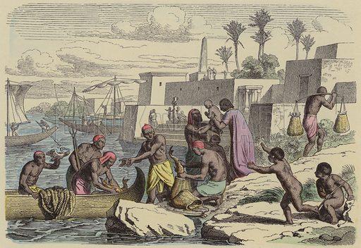 Ancient Egyptian fishermen. Illustration from Bilder aus dem Alterthume (Braun & Schneider, Munich, 19th Century).