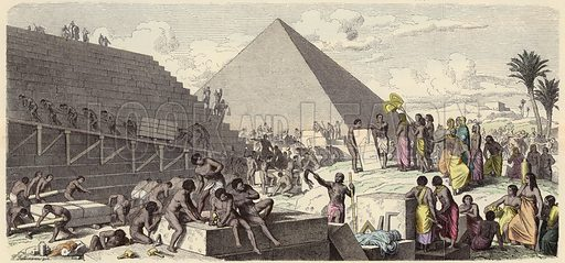 Building of the Pyramids in Ancient Egypt. Illustration from Bilder aus dem Alterthume (Braun & Schneider, Munich, 19th Century).