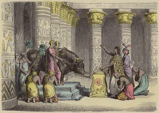 Worship of the Apis Bull in Ancient Egypt. Illustration from Bilder aus dem Alterthume (Braun & Schneider, Munich, 19th Century).