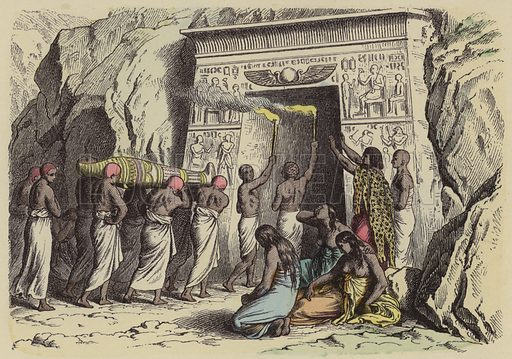 Ancient Egyptian burial. Illustration from Bilder aus dem Alterthume (Braun & Schneider, Munich, 19th Century).