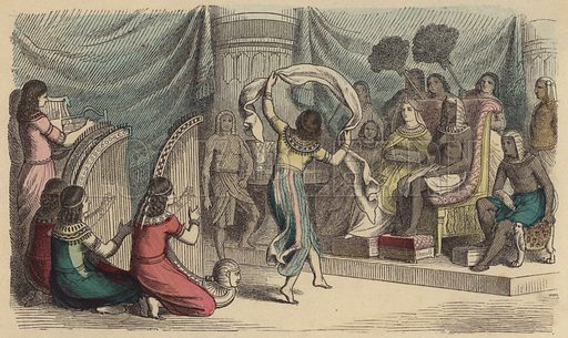 Musicians and dancers performing before the Pharaoh in Ancient Egypt. Illustration from Bilder aus dem Alterthume (Braun & Schneider, Munich, 19th Century).