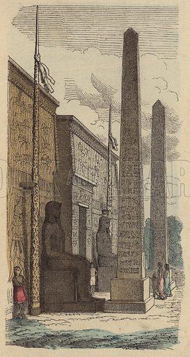 Entrance of an Ancient Egyptian palace temple. Illustration from Bilder aus dem Alterthume (Braun & Schneider, Munich, 19th Century).