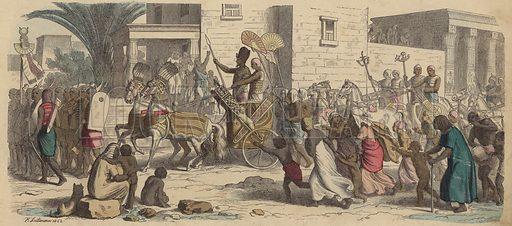 An Ancient Egyptian pharaoh setting off for war. Illustration from Bilder aus dem Alterthume (Braun & Schneider, Munich, 19th Century).