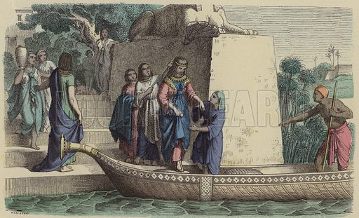 Ancient Egyptian woman of high rank taking a boat trip. Illustration from Bilder aus dem Alterthume (Braun & Schneider, Munich, 19th Century).