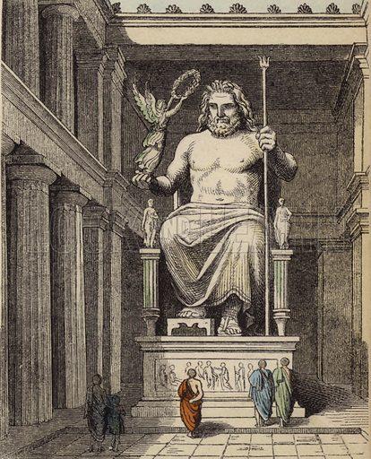 Statue of Zeus in the Ancient Greek temple at Olympia. Illustration from Bilder aus dem Alterthume (Braun & Schneider, Munich, 19th Century).