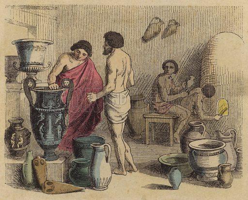 Pottery workshop in Ancient Greece. Illustration from Bilder aus dem Alterthume (Braun & Schneider, Munich, 19th Century).