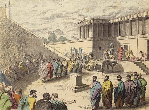 Performance of the play Agamemnon in a theatre in Ancient Greece. Illustration from Bilder aus dem Alterthume (Braun & Schneider, Munich, 19th Century).