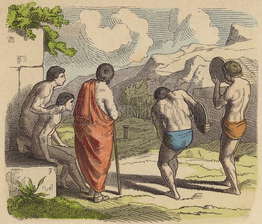 Discus throwing in Ancient Greece. Illustration from Bilder aus dem Alterthume (Braun & Schneider, Munich, 19th Century).