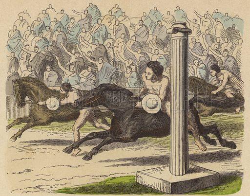 Display of horsemanship in Ancient Greece. Illustration from Bilder aus dem Alterthume (Braun & Schneider, Munich, 19th Century).
