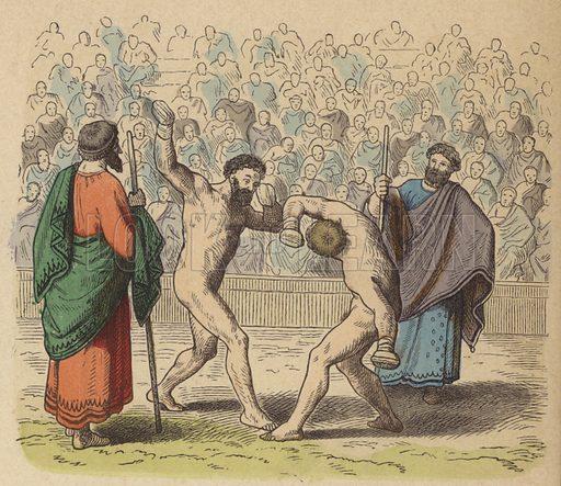 Ancient Greek boxing. Illustration from Bilder aus dem Alterthume (Braun & Schneider, Munich, 19th Century).