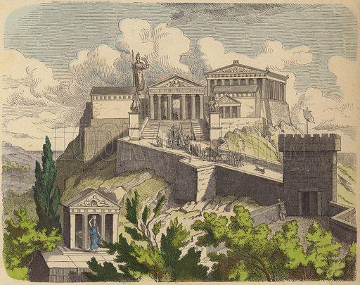 The Parthenon on the Acropolis, Athens. Illustration from Bilder aus dem Alterthume (Braun & Schneider, Munich, 19th Century).