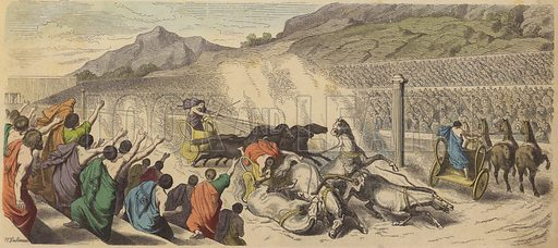 Chariot racing at the Olympic Games in Ancient Greece. Illustration from Bilder aus dem Alterthume (Braun & Schneider, Munich, 19th Century).