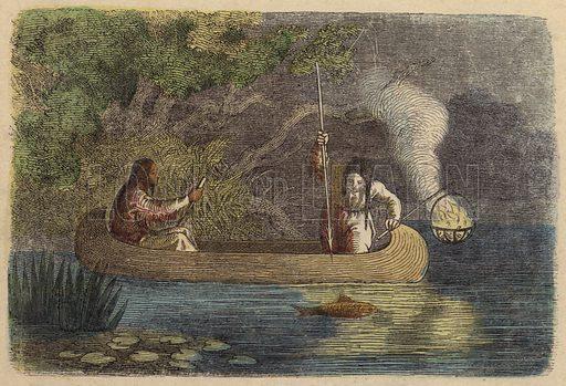 Native Americans fishing at night.