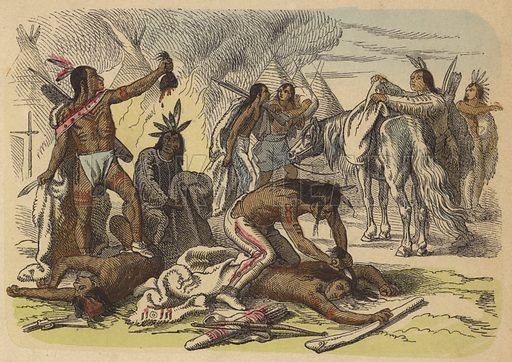 Native American braves taking the scalps of their enemies.