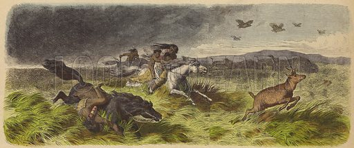 Native Americans and animals fleeing a prairie fire.