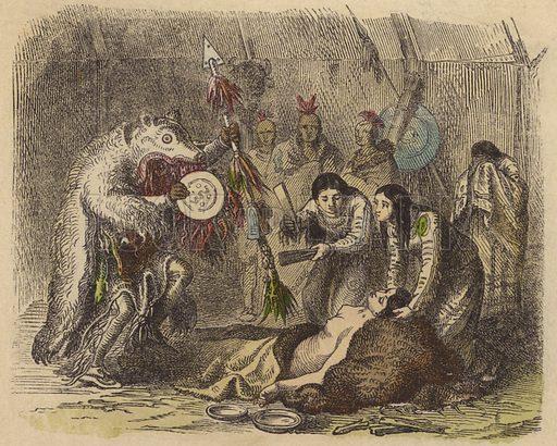 A Native American medicine man reciting an incantation to cure sickness.