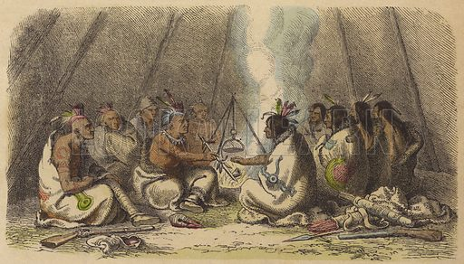 Native Americans of the Fox and Raven tribes smoking the peace pipe.