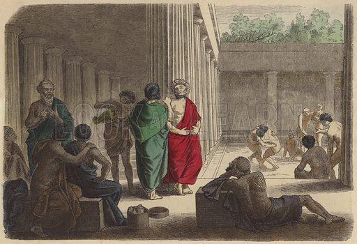 Scene in a gymnasium in Ancient Greece. Illustration from Bilder aus dem Alterthume (Braun & Schneider, Munich, 19th Century).