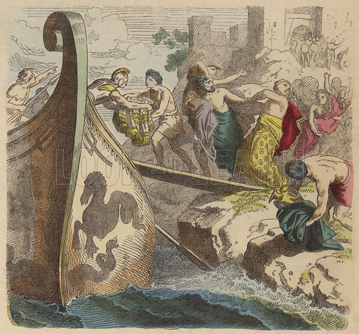 Pirates in Ancient Greece. Illustration from Bilder aus dem Alterthume (Braun & Schneider, Munich, 19th Century).