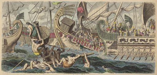 Ancient Greek sea battle. Illustration from Bilder aus dem Alterthume (Braun & Schneider; Munich; 19th Century).