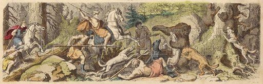 Hunting bears in Ancient Greece. Illustration from Bilder aus dem Alterthume (Braun & Schneider, Munich, 19th Century).