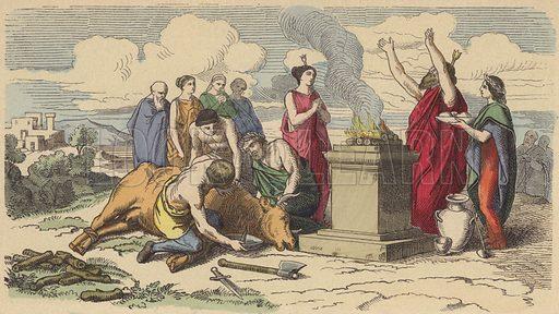 Sacrifice in Ancient Greece. Illustration from Bilder aus dem Alterthume (Braun & Schneider, Munich, 19th Century).