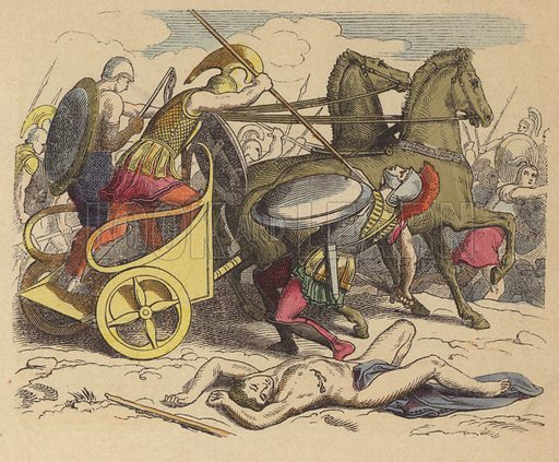 Ancient Greek war chariot. Illustration from Bilder aus dem Alterthume (Braun & Schneider, Munich, 19th Century).