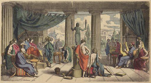 A royal court in Ancient Greece. Illustration from Bilder aus dem Alterthume (Braun & Schneider, Munich, 19th Century).