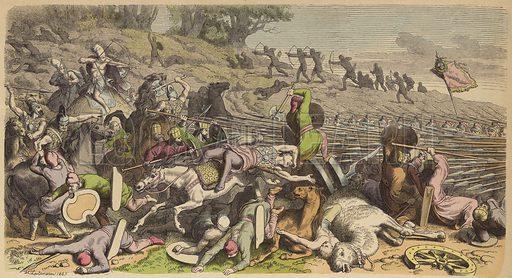 Macedonian phalanx in a battle with the Persians. Illustration from Bilder aus dem Alterthume (Braun & Schneider, Munich, 19th Century).