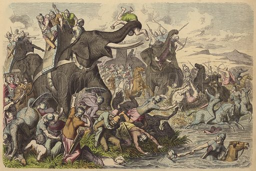 Macedonians using war elephants in a battle with the Dacians and Sarmatians. Illustration from Bilder aus dem Alterthume (Braun & Schneider, Munich, 19th Century).