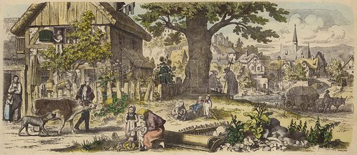 German village. Illustration from Die Welt in Bildern (Braun & Schneider, Munich, 19th Century).
