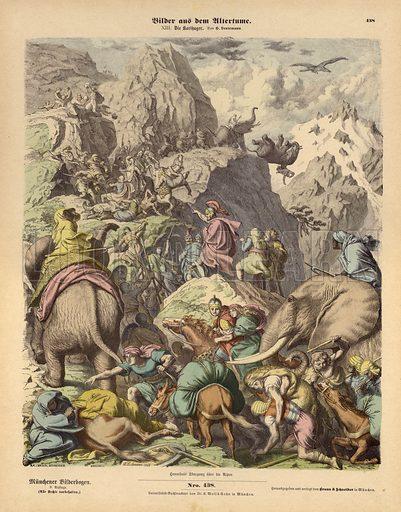Hannibal leading the Carthaginian army over the Alps. Illustration from Bilder aus dem Alterthume (Braun & Schneider, Munich, 19th Century).