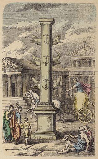 Column commemorating a Roman naval victory. Illustration from Bilder aus dem Alterthume (Braun & Schneider, Munich, 19th Century).