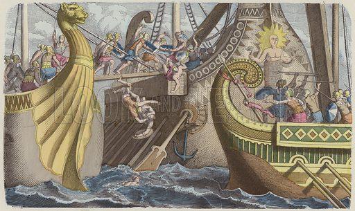 Boarding a galley during a sea battle in Roman times. Illustration from Bilder aus dem Alterthume (Braun & Schneider, Munich, 19th Century).