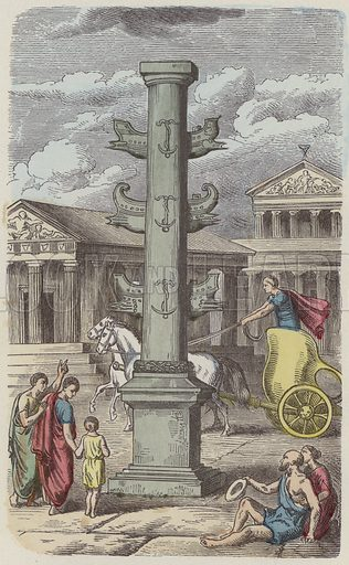 Column commemorating a Roman naval victory. Illustration from Bilder aus dem Alterthume (Braun & Schneider, Munich, 19th Century).
