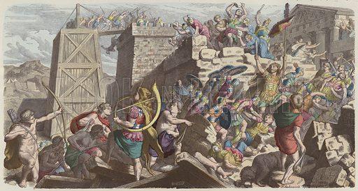 Roman soldiers storming a city. Illustration from Bilder aus dem Alterthume (Braun & Schneider, Munich, 19th Century).