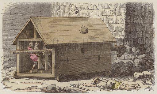 Roman battering ram. Illustration from Bilder aus dem Alterthume (Braun & Schneider, Munich, 19th Century).