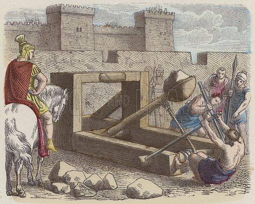 Roman siege catapult. Illustration from Bilder aus dem Alterthume (Braun & Schneider, Munich, 19th Century).