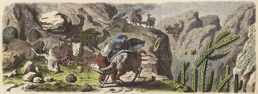 A llama caravan transporting ore caught in a storm in the Andes. Illustration from Die Welt in Bildern (Braun & Schneider, Munich, 19th Century).