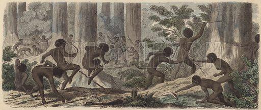 Two tribes of Australian Aborigines fighting. Illustration from Die Welt in Bildern (Braun & Schneider, Munich, 19th Century).