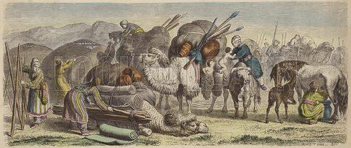 Kirghiz nomads setting up their camp in southern Siberia. Illustration from Die Welt in Bildern (Braun & Schneider, Munich, 19th Century).