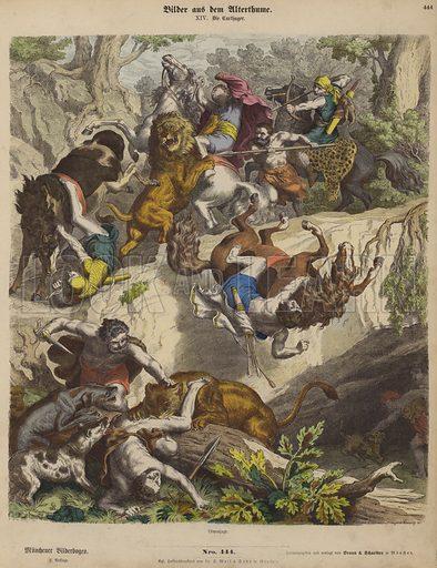 Carthaginian lion hunt. Illustration from Bilder aus dem Alterthume (Braun & Schneider, Munich, 19th Century).