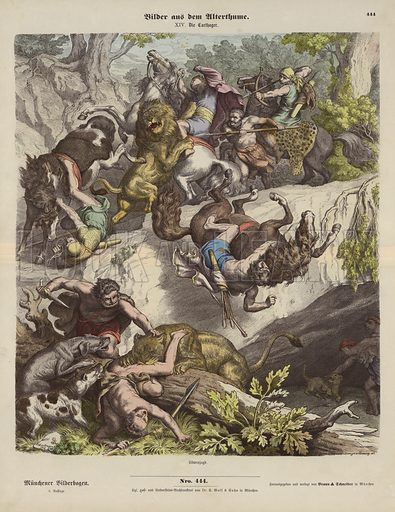 Carthaginian lion hunt. Illustration from Bilder aus dem Alterthume (Braun & Schneider, Munich, 19th Century).