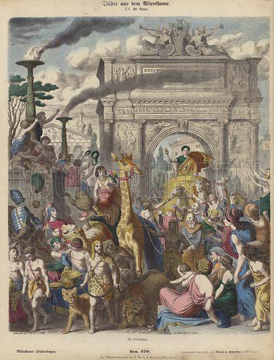 A Roman triumph. Illustration from Bilder aus dem Alterthume (Braun & Schneider, Munich, 19th Century).
